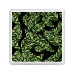 Tropical Leaves On Black Memory Card Reader (square)