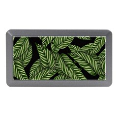 Tropical Leaves On Black Memory Card Reader (mini)