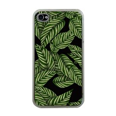 Tropical Leaves On Black Apple Iphone 4 Case (clear)