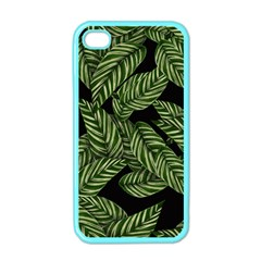 Tropical Leaves On Black Apple Iphone 4 Case (color)