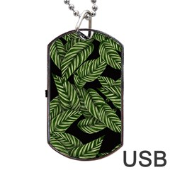 Tropical Leaves On Black Dog Tag Usb Flash (two Sides)
