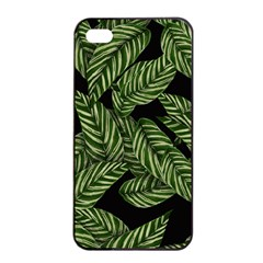 Tropical Leaves On Black Apple Iphone 4/4s Seamless Case (black)