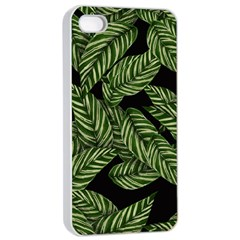 Tropical Leaves On Black Apple Iphone 4/4s Seamless Case (white)