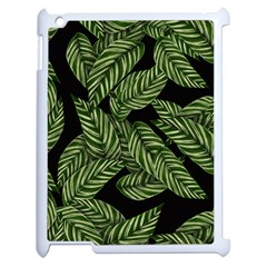 Tropical Leaves On Black Apple Ipad 2 Case (white)