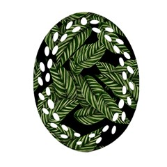 Tropical Leaves On Black Oval Filigree Ornament (two Sides)