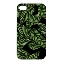Tropical Leaves On Black Apple Iphone 4/4s Hardshell Case