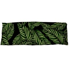 Tropical Leaves On Black Body Pillow Case (dakimakura)