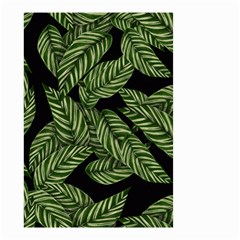Tropical Leaves On Black Small Garden Flag (two Sides)