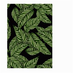 Tropical Leaves On Black Large Garden Flag (two Sides)