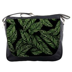 Tropical Leaves On Black Messenger Bag