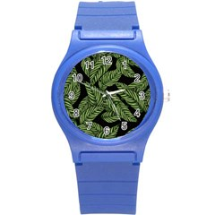 Tropical Leaves On Black Round Plastic Sport Watch (s)