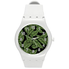 Tropical Leaves On Black Round Plastic Sport Watch (m)