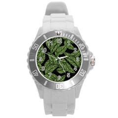 Tropical Leaves On Black Round Plastic Sport Watch (l)