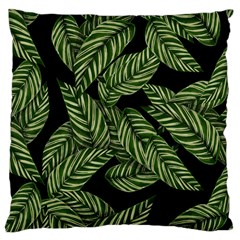 Tropical Leaves On Black Large Cushion Case (two Sides)