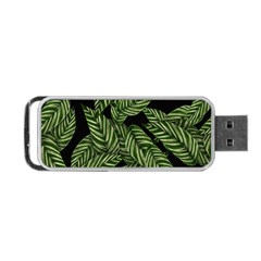 Tropical Leaves On Black Portable Usb Flash (two Sides)