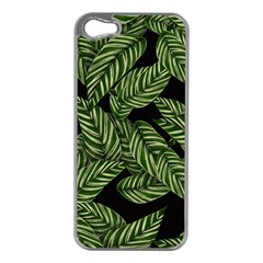 Tropical Leaves On Black Apple Iphone 5 Case (silver)
