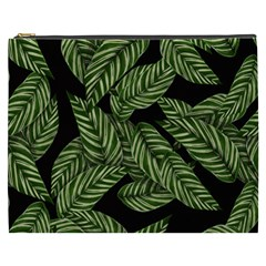 Tropical Leaves On Black Cosmetic Bag (xxxl)