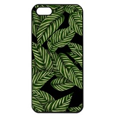 Tropical Leaves On Black Apple Iphone 5 Seamless Case (black)