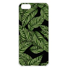 Tropical Leaves On Black Apple Iphone 5 Seamless Case (white)