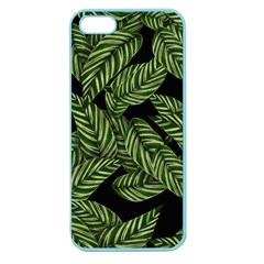 Tropical Leaves On Black Apple Seamless Iphone 5 Case (color)