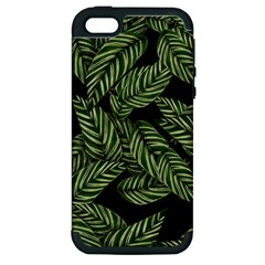 Tropical Leaves On Black Apple Iphone 5 Hardshell Case (pc+silicone)