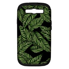 Tropical Leaves On Black Samsung Galaxy S Iii Hardshell Case (pc+silicone)