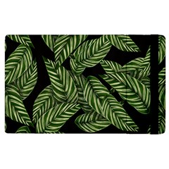 Tropical Leaves On Black Apple Ipad 3/4 Flip Case