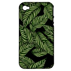 Tropical Leaves On Black Apple Iphone 4/4s Hardshell Case (pc+silicone)