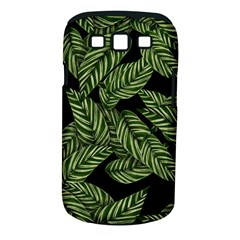 Tropical Leaves On Black Samsung Galaxy S Iii Classic Hardshell Case (pc+silicone)