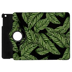 Tropical Leaves On Black Apple Ipad Mini Flip 360 Case