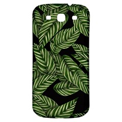 Tropical Leaves On Black Samsung Galaxy S3 S Iii Classic Hardshell Back Case
