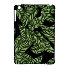 Tropical Leaves On Black Apple Ipad Mini Hardshell Case (compatible With Smart Cover)