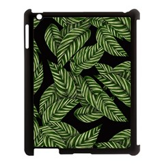 Tropical Leaves On Black Apple Ipad 3/4 Case (black)