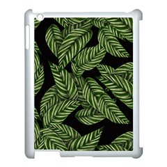 Tropical Leaves On Black Apple Ipad 3/4 Case (white)