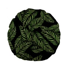 Tropical Leaves On Black Standard 15  Premium Round Cushions