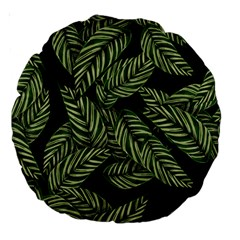 Tropical Leaves On Black Large 18  Premium Round Cushions