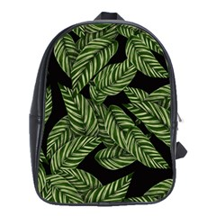 Tropical Leaves On Black School Bag (xl)