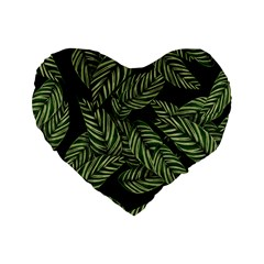 Tropical Leaves On Black Standard 16  Premium Heart Shape Cushions
