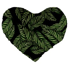 Tropical Leaves On Black Large 19  Premium Heart Shape Cushions