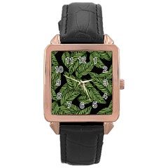 Tropical Leaves On Black Rose Gold Leather Watch