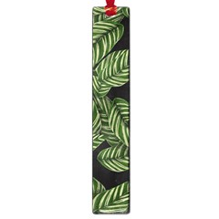 Tropical Leaves On Black Large Book Marks