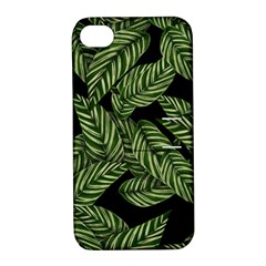 Tropical Leaves On Black Apple Iphone 4/4s Hardshell Case With Stand