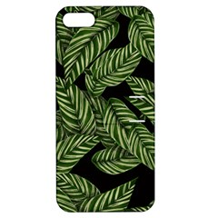Tropical Leaves On Black Apple Iphone 5 Hardshell Case With Stand