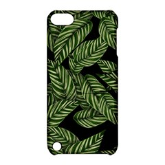 Tropical Leaves On Black Apple Ipod Touch 5 Hardshell Case With Stand