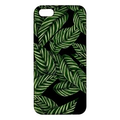 Tropical Leaves On Black Apple Iphone 5 Premium Hardshell Case