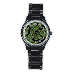 Tropical Leaves On Black Stainless Steel Round Watch