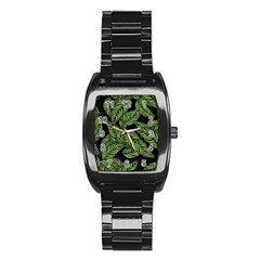 Tropical Leaves On Black Stainless Steel Barrel Watch