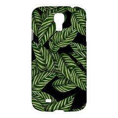 Tropical Leaves On Black Samsung Galaxy S4 I9500/i9505 Hardshell Case