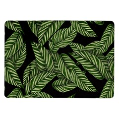 Tropical Leaves On Black Samsung Galaxy Tab 10 1  P7500 Flip Case