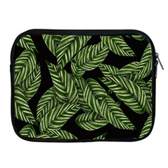 Tropical Leaves On Black Apple Ipad 2/3/4 Zipper Cases